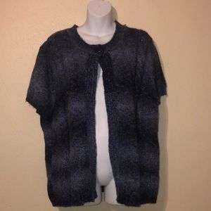 Navy short sleeve open sweater/cardigan